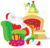 Santa Claus by a fireplace. Father Christmas sitting in a chair beside a fireplace with a decorated clock Stock Images