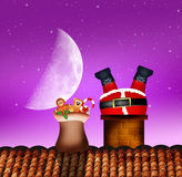 Santa Claus in the fireplace. Illustration of Santa Claus in the fireplace Stock Image