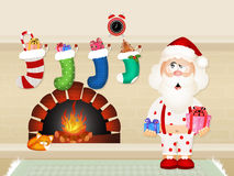 Santa Claus by the fireplace. Illustration of Santa Claus by the fireplace Stock Image