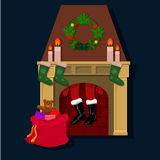 Santa Claus and a fireplace Royalty Free Stock Image