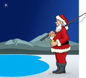 Santa Claus fisherman Royalty Free Stock Photo