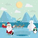 Santa Claus fiske kopplar av utomhus i vinter Fotografering för Bildbyråer