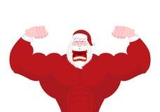 Santa Claus Fitness Uomo anziano potente con i grandi muscoli forte C Fotografie Stock