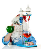 Santa Claus with flasks Royalty Free Stock Images