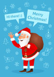 Santa Claus flat character isolated on blue Christmas hand drawn background. Royalty Free Stock Images