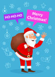Santa Claus flat character isolated on blue Christmas hand drawn background. Standing funny old man carrying sack with Stock Photo