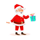 Santa Claus flat character isolated on white background. Standing funny old man is holding Christmas gift with ribbon Stock Photography