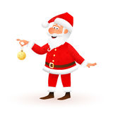 Santa Claus flat character isolated on white background. Standing funny old man is holding yellow Christmas ball with Stock Images