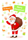 Santa Claus flat character isolated on white Christmas hand drawn background. Standing funny old man carrying sack with Royalty Free Stock Photography