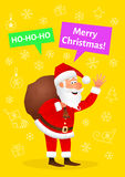 Santa Claus flat character isolated on yellow Christmas hand drawn background. Standing funny old man carrying sack Royalty Free Stock Image