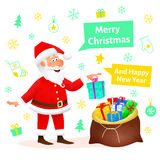Santa Claus flat character  on white Christmas hand drawn background. Standing funny old man carrying sack with Royalty Free Stock Image