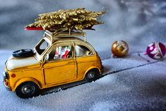 Santa Claus fleeing to the holidays after Christmas work royalty free stock images