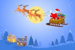 Santa Claus-Fliegen auf einem Pferdeschlitten mit Geschenkbox lizenzfreie abbildung