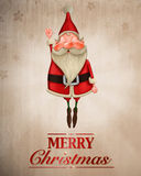 Santa Claus fliegt Grußkarte Stockbild