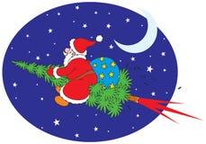 Santa Claus flies on a fir Royalty Free Stock Photo
