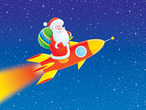 Santa Claus flies on a rocket. Illustration of Santa flying on a rocket and carrying a sack with Christmas gifts in the starry sky royalty free illustration