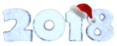 2018 with red hat Happy New Year blue ice text. 2018 with Santa Claus fluffy red hat Happy New Year sign text written with numbers made of clear blue ice, new Royalty Free Stock Photo