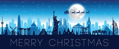 Santa Claus fluga över den berömda gränsmärket för värld som överför gåvan till varje stock illustrationer