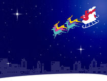 Santa claus fly with his sleigh to the city Stock Photo