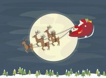 Santa Claus flyg med renvektorn Royaltyfri Bild