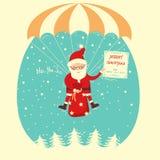 Santa Claus flyiing on parachute in snow blue sky.vector illustr Royalty Free Stock Photo