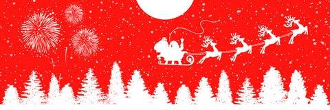 Santa Claus flyin on Christmas sleigh in the night - stock vector