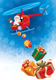 Santa Claus flying Stock Images