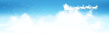Santa Claus Flying Above The Clouds with Reindeer Sled. Panorama - Blue Azure Sky with Star Trail - Star Cluster and Antler in White Colour. Landscape Banner stock illustration