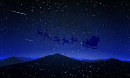 Santa Claus Flying Against la lune illustration stock