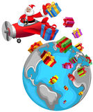 Santa Claus Flying Airplane Christmas World  Royalty Free Stock Photography