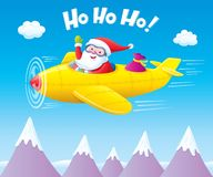 Santa Claus Flying An Airplane with Presents. Cartoon illustration of a jolly Santa Claus character flying an airplane with presents while waving and the words Royalty Free Stock Photos