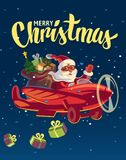 Santa Claus flying on airplane with presents. Vector flat Stock Photo