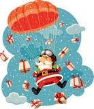 Santa Claus Flying con el paracaídas rodeado por el ejemplo del vector de los regalos Fotografía de archivo