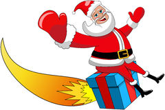 Santa Claus Flying Gift Rocket Xmas Isolated Stock Photo