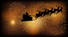 Santa Claus Flying With His Sleigh Arkivfoto