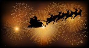 Santa Claus Flying With His Sleigh Fotografia Stock