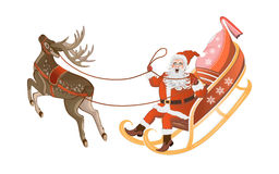 Santa Claus flying on his sleigh with gifts Stock Photos