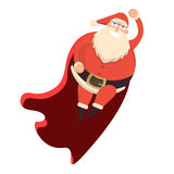 Santa Claus flying like superhero in red cape waving behind. Cut. E cartoon cheerful and smiling Father Frost character. Flat style vector illustration Royalty Free Stock Photo