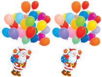 Santa Claus flying with multicolor balloons. High-resolution clip-arts: Santa Claus with Christmas gifts in bag flies with multicolor small children's air Royalty Free Stock Photos