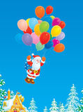 Santa Claus flying with multicolor balloons Royalty Free Stock Photo