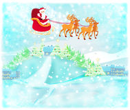 Santa Claus flying over city Royalty Free Stock Photo