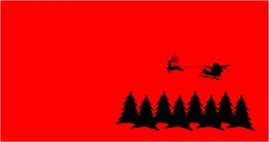Red Christmas card. Santa claus is flying over pine trees Royalty Free Illustration