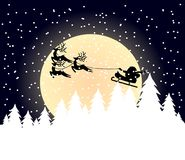 Christmas card. Santa claus is flying over snow coverd pine trees while snow is falling Stock Illustration