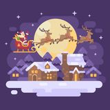 Santa Claus flying over the snowy night winter village landscape in a sleigh drawn by three reindeer. Christmas flat illustration Stock Images