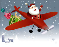 Santa Claus flying in plane Royalty Free Stock Photography