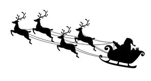 Santa Claus flying with reindeer sleigh. Black Silhouette. Symbol of Christmas and New Year isolated on white background. Vector. Illustration. Cartoon style Stock Images