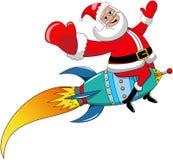 Santa Claus Flying Rocket Xmas Isolated Stock Photo