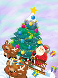 The santa claus flying with the sack full of presents - gifts - christmas tree - happy reindeer - chri Stock Photography