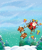 The santa claus flying with the sack full of presents - gifts - happy reindeer - christmas design Royalty Free Stock Image