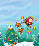 The santa claus flying with the sack full of presents - gifts - happy reindeer - christmas design Stock Photos